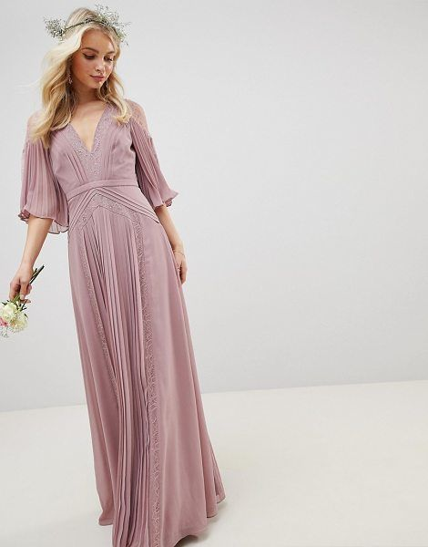 5c6aaba5eb22 Bridesmaid pleated paneled flutter sleeve maxi dress with lace inserts by  Asos #asos