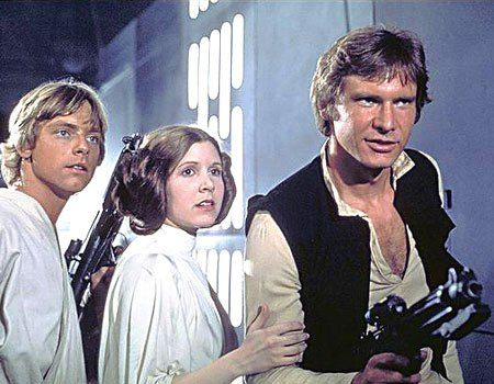 Mark Hamel ( Luke Skywalker ), Carrie Fisher ( Leia ) and Harrison Ford ( Han Solo ) from the original Star Wars movie in the late 1970's.