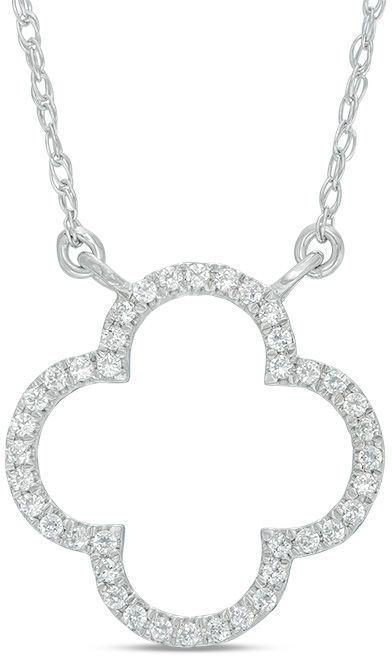 Zales 1/10 CT. T.W. Diamond Open Clover Necklace in 10K White Gold