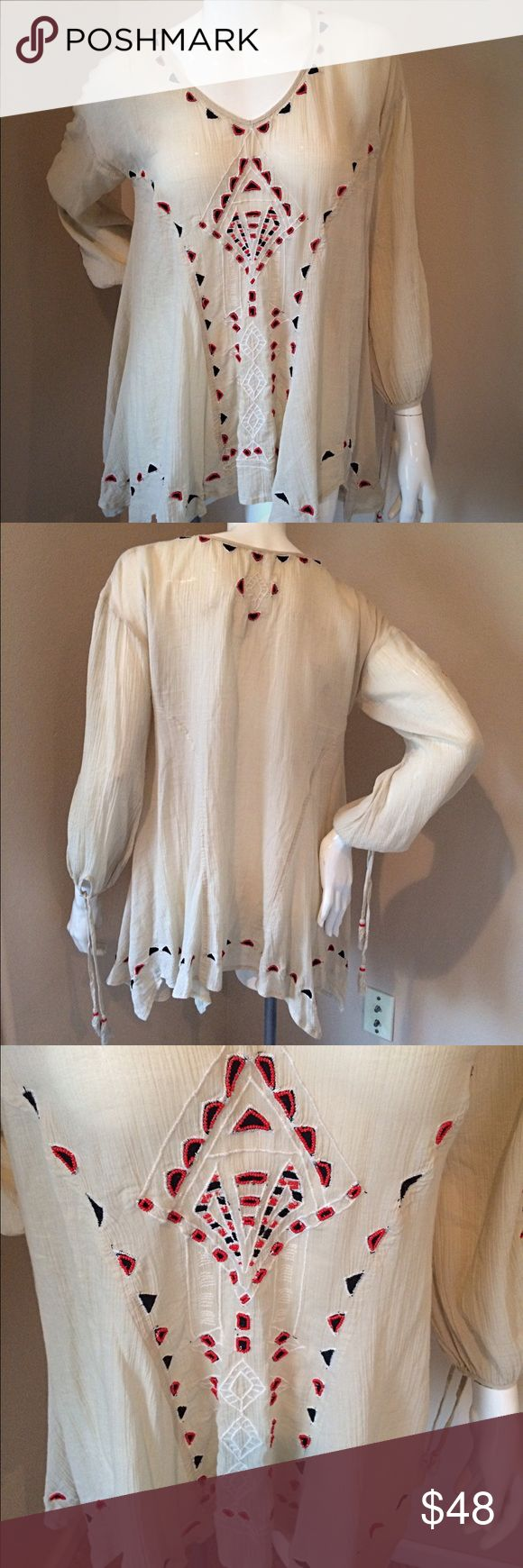 Free People beaded peasant blouse xs Free People cream beaded peasant top size xs. Beautiful embroidering with red beading. perfect slouchy fit. I would pair this top with a pair of skinny jeans,  floppy hat, and cute boots! Free People Tops Blouses