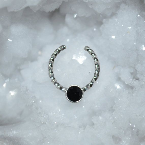 3mm Onyx Septum Cuff, Silver Fake Nose Ring, Nose Hoop Earring, tragus/cartilage/helix faux piercing 18g nose studs 18 gauge