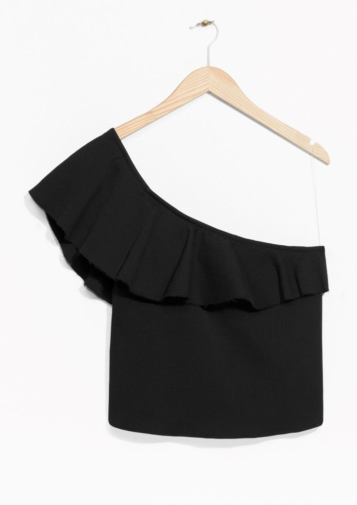 & Other Stories image 1 of One Shoulder Frill Top  in Black
