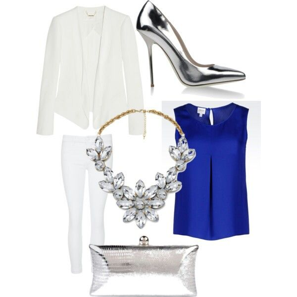 Beautiful and clean Armani bluse White blazer and pants Silver pumps , clutch and flower necklace
