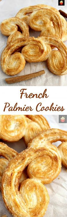 Easy French Palmier Cookies. These are a very easy crispy cookie, made up of simply 3 ingredients. Quick to make and very flexible with flavors. Suggestions for sweet and savory in the recipe for you! | Lovefoodies.com