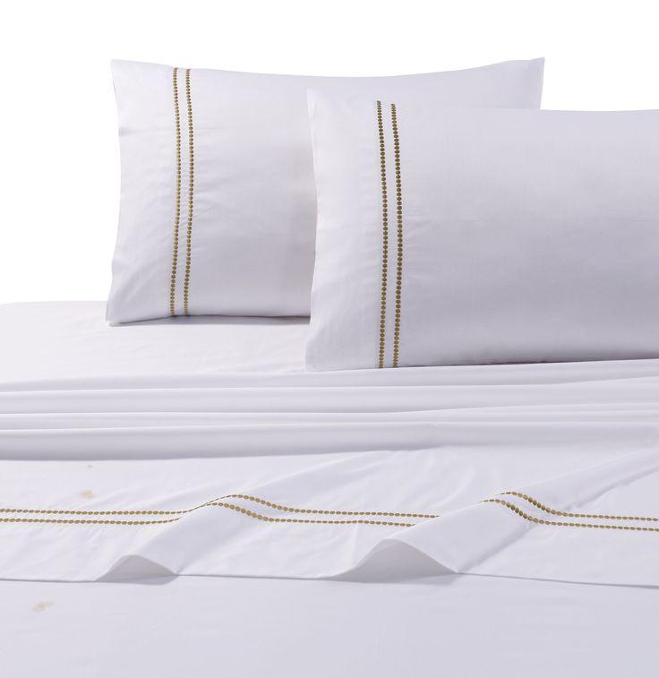 Brenna Embroidered Stripe Cotton Sheet Set