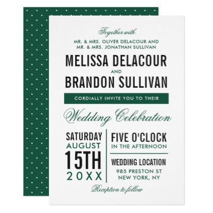 Green Modern Typography Wedding Invitation II - invitations custom unique diy personalize occasions