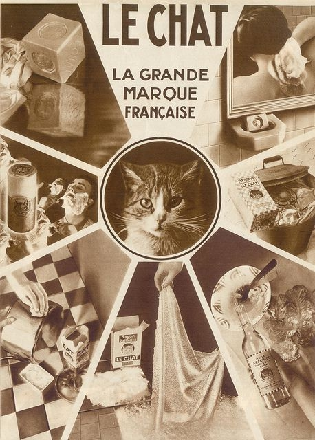 Cats in Art, Illustration and Photography: Le Chat French soap vintage advertising poster