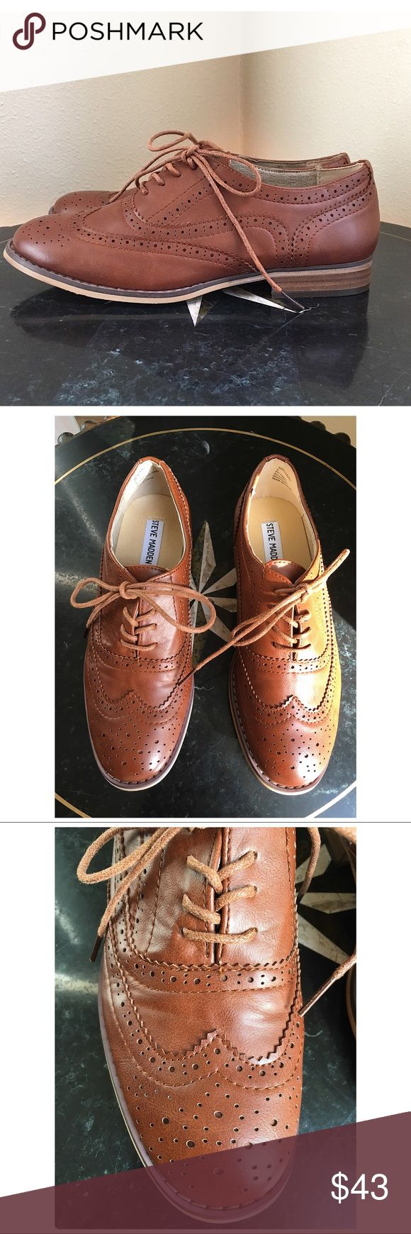 """STEVE MADDEN OXFORD New without box or tags. Steve Madden BENJAMIN oxfords in a Luggage Brown color.  Man-made upper, Man-made lining, Man-made sole. 1 inch heel. ALL MEASUREMENTS ARE APPROXIMATE: LENGTH 10.25"""" WIDTH 3.75"""" (measured at ball if foot) Steve Madden Shoes Flats & Loafers"""