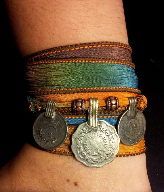 Oasis Boho Silk Wrap Bracelet w/Tribal Kuchi Coins, Gypsy, Kuchi Jewelry, Belly Dance, Yoga Bracelet, Blue Yellow Brown w/Copper Accents