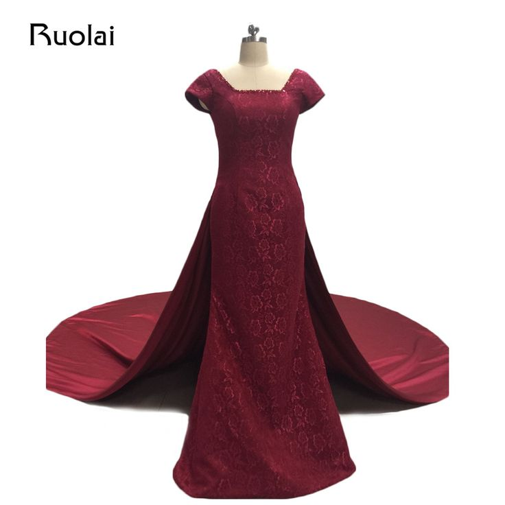 Classic Real Photo Burgundy Square Neckline Sleeves Long Lace Mermaid Evening Dress detachable Train Formal Evening Dress FE15 #Affiliate