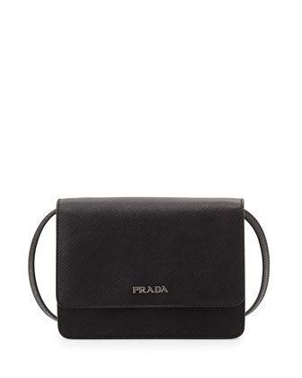 Prada Saffiano Lux Crossbody Bag, Black (Nero)