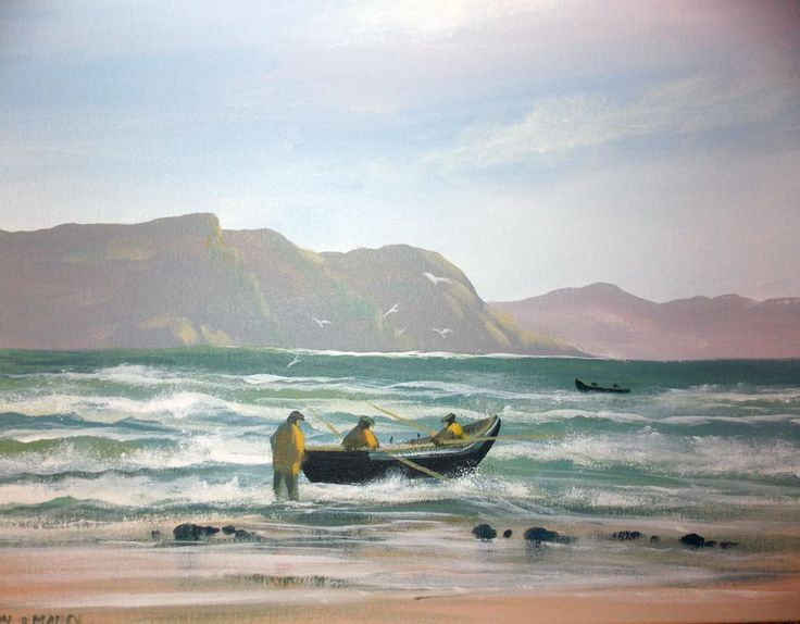 atlantic  tide  achill - Painting,  2x16x20 in ©2013 by Cathal O Malley -              achill, atlantic, currach