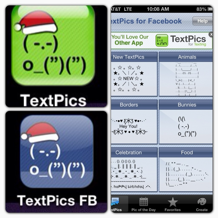 Textpics is an app that provides you a library of ASCII art to post in text messages or Facebook.  Warning, you need the Facebook specific one to post there.  The text message versions don't turn out on FB!