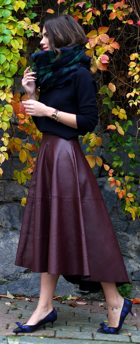 Burgundy Leather Full Midi Skirt by Maritsa