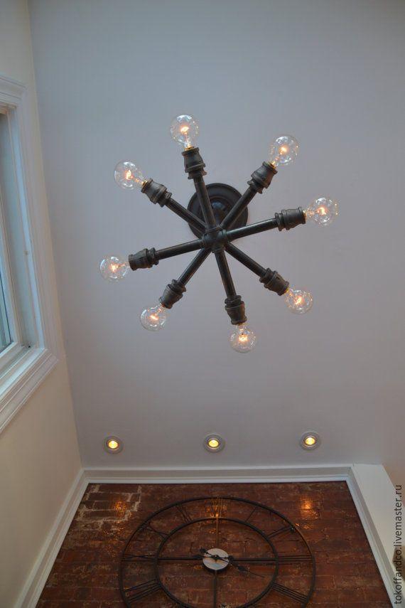 Купить Потолочный светильник Спутник - лофт, светильник, стимпанк, люстра, ретро, лампа едисона