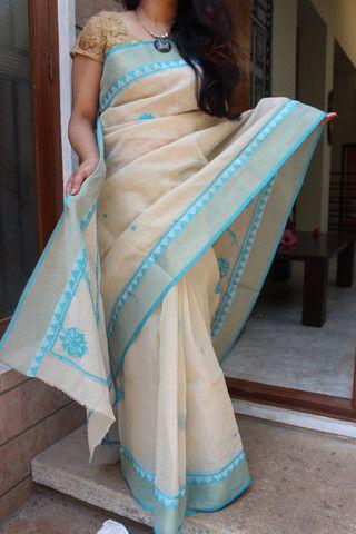 Lucknow chikan work on kota cotton saree