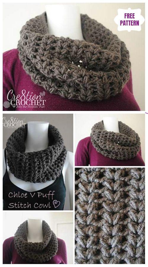 Crochet Puff Stitch Loop Scarf Tutorial Video Crochet Appliques