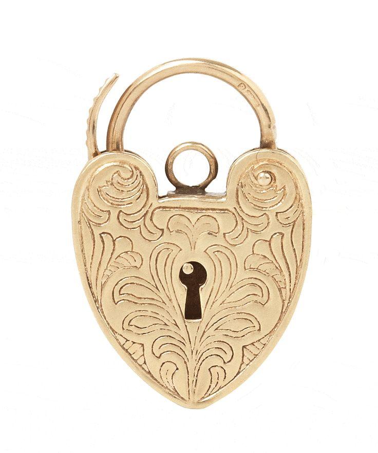 9ct Gold Vintage Decorative Heart Padlock Charm, Annina Vogel.