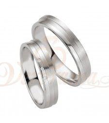 Ασημένιες βέρες γάμου με διαμάντι - breuning - 8077-8078