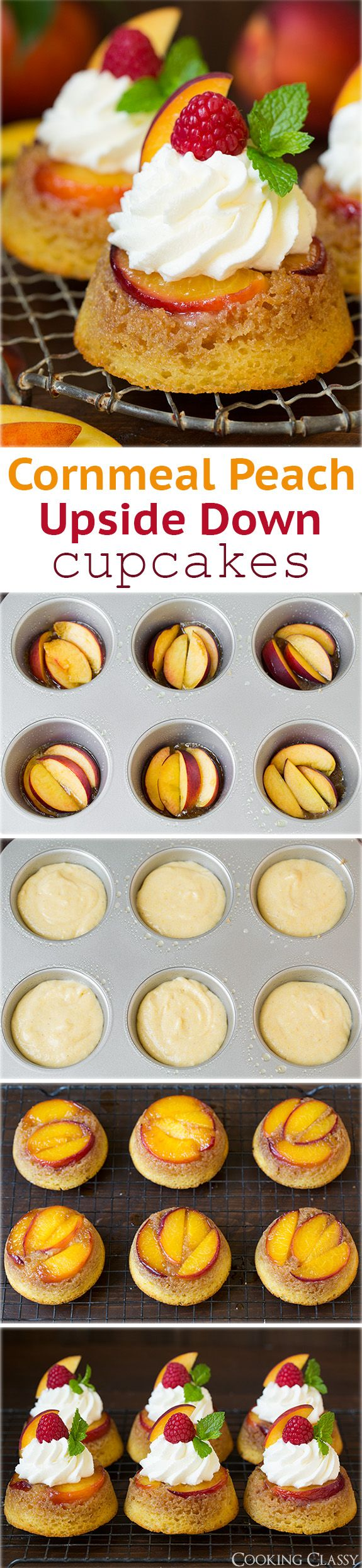 Cornmeal Peach Upside Down Cupcakes - these are DREAMY! Like peach cobbler meets cornbread meets upside down cake meets cupcakes! So fun, everyone loved them!