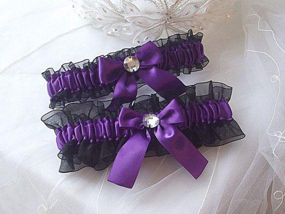 wedding garter set purple with black sheer organza and rhinestones