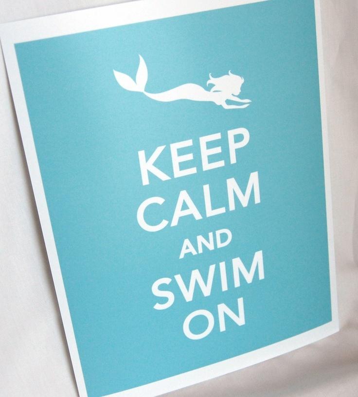 """Mermaid Nursery Decor: """"Keep Calm and Swim On"""" Art Print"""