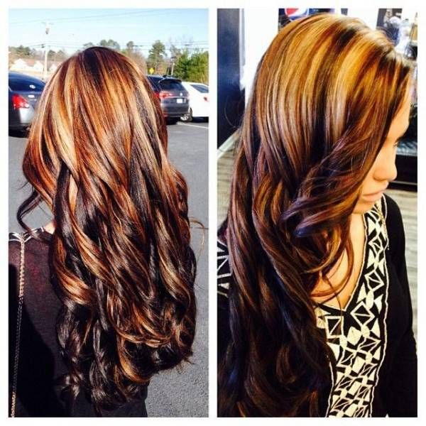 56 best hair colors images on pinterest hairstyle hair and bayalage brown hair with blonde and red highlights pmusecretfo Choice Image