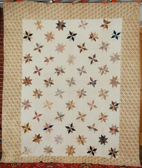 "AMAZING Pre Civil War 1840's Le Moyne Stars Hand Stitched Antique Quilt! | eBay; 82 x 100"", 7 spi, thin batting, can see cotton seed residue inside when you hold it up to the light"