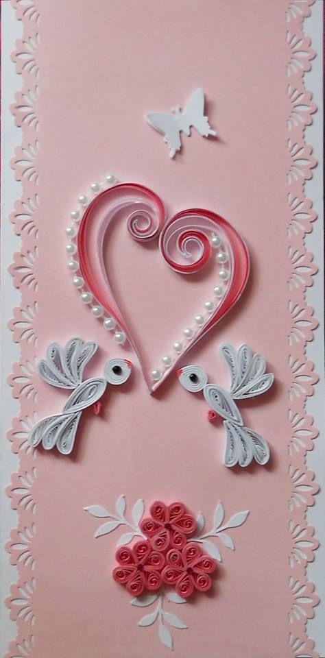 Sødt quillet kort med 2 hvide duer..
