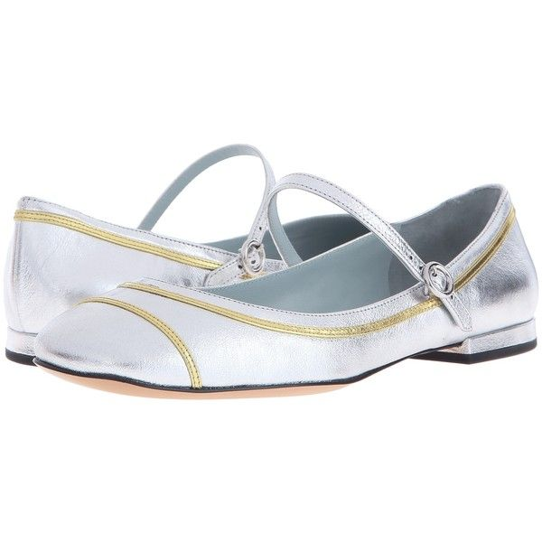 Marc Jacobs Poppy Mary Jane Ballerina (Silver) Women's Ballet Shoes ($90) ❤ liked on Polyvore featuring shoes, flats, silver, ballet pumps, mary jane ballet flats, silver ballet flats, ballet shoes and silver metallic flats