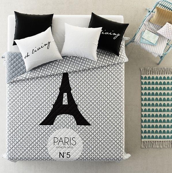 Eiffelova veža sivé prikrývky na posteľ