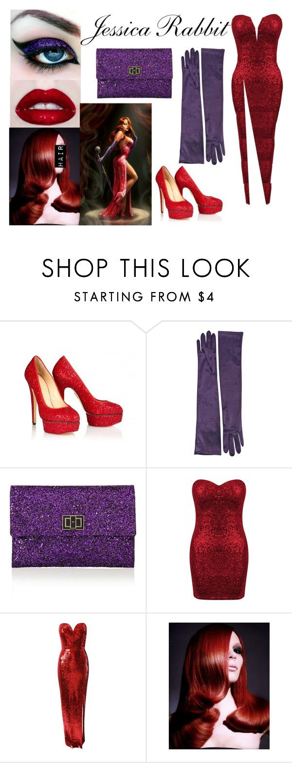"""Jessica Rabbit Costume"" by bellageorgia ❤ liked on Polyvore featuring Charlotte Olympia, Anya Hindmarch and Jane Norman"