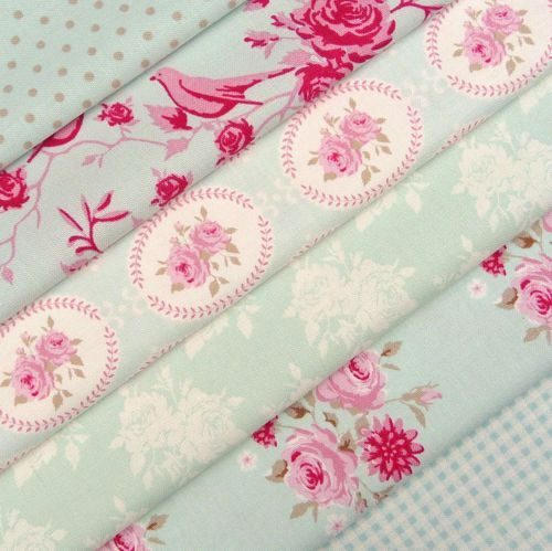 Tilda Flower garden, duck egg aqua pink fabric value selection bundle x 6 | eBay