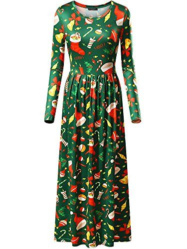FENSACE Christmas Tree Dress Womens Holiday Party Winter Long Maxi