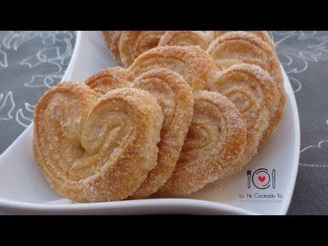 Palmeritas de Hojaldre. Video de como hacerlas (ingredientes son: masa de hojaldre y azúcar)