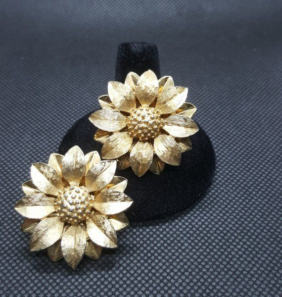 Gold Toned Cloisonne Flower Earrings  Clip-On Earrings  Gold Tone Base  Orange Flowers  Pink Flowers  White Accents  Lightweight