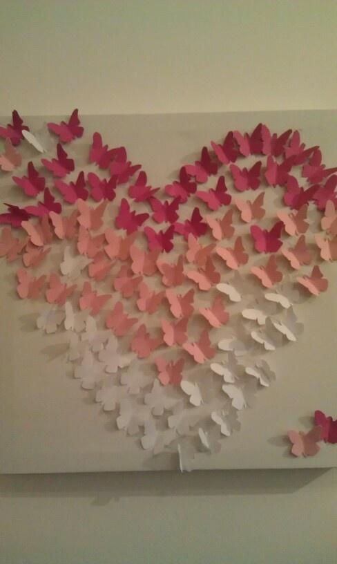 Zelf gemaakt . Wit canvas doek van de action, een uirgeprint vlindersymbool, gekleurd papier. En dan knippen en plakken!