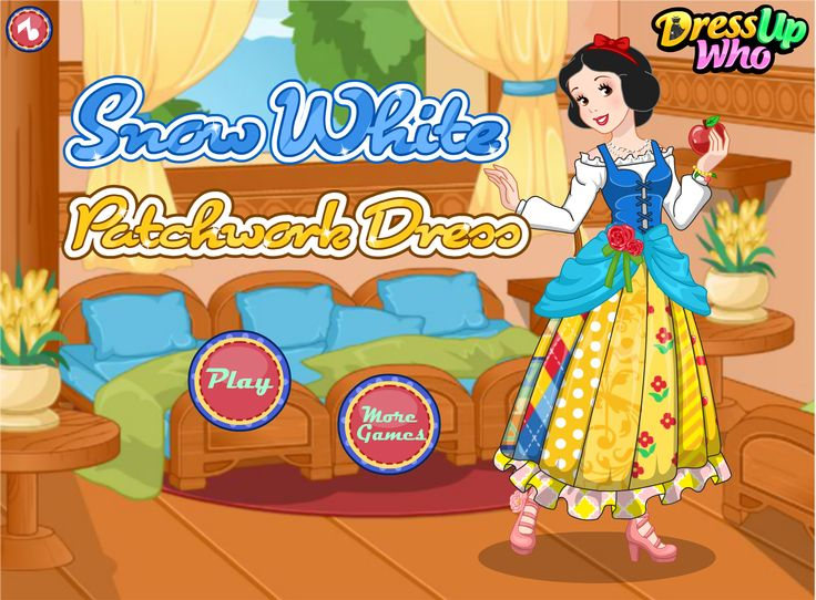 Snow White Patchwork Dress - It seems that Snow White's satin blue and yellow dress got all messed up while our beloved princess was picking the apples so she would love something new as adorable as the previous was. The only thing she would change is the fabric and this time she would love to try the playful patchwork patterns. Could you help her out?