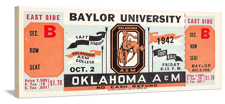 Vintage football art made from a 1942 Oklahoma State football ticket. Great vintage football art for a game room or office! Available soon. http://www.shop.47straightposters.com/Oklahoma-Football-Tickets-OU-OSU-Tulsa-Tickets_c17.htm