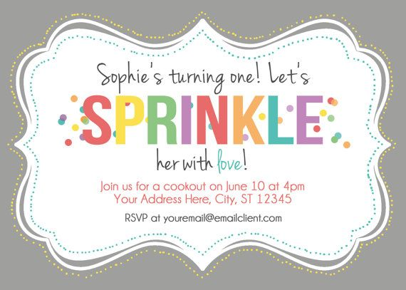 Sprinkle Printable Birthday Party Invitation by TheBlushingGarden, $14.00