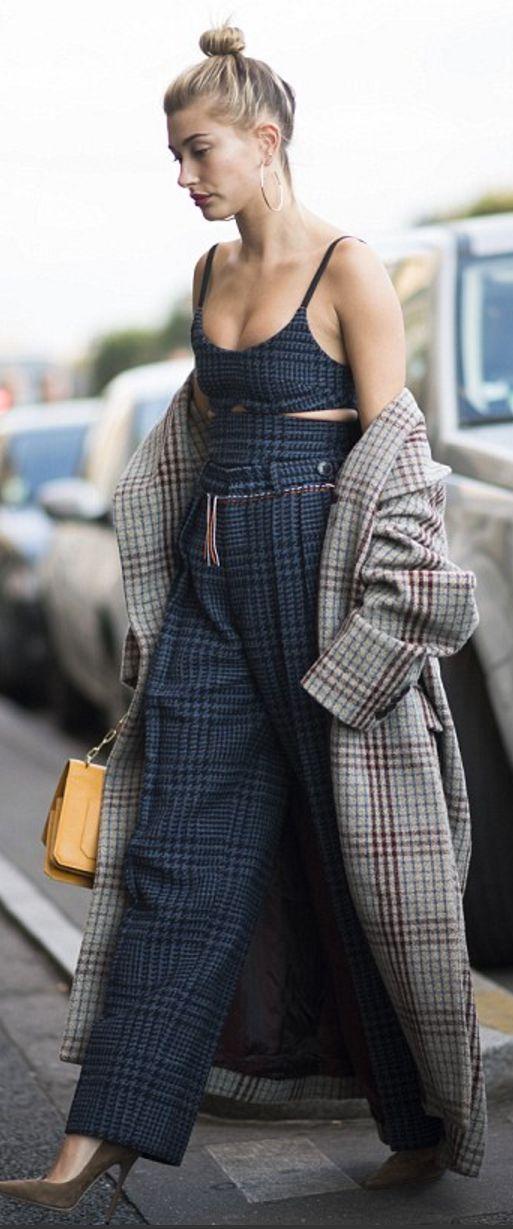 Hailey Baldwin in Coat – Isabel Marant  Shirt and skirt – Victoria Beckham Collection  Jewelry – Jennifer Fisher  Purse – Mugler  Shoes – Jimmy Choo