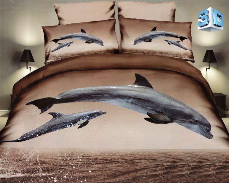 Hnedé posteľné obliečky z mikrovlákna so vzorom delfín