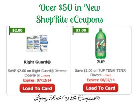 Over $50 in New ShopRite eCoupons - Right Guard, 7UP, Dial  More!  - http://www.livingrichwithcoupons.com/2014/06/48-new-shoprite-ecoupons-right-guard-7up-dial.html