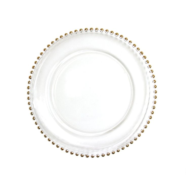 Clear Glass Gold Beaded Couture Charger Plate, 4-pack [424658] : Wholesale Wedding Supplies, Discount Wedding Favors, Party Favors, and Bulk Event Supplies