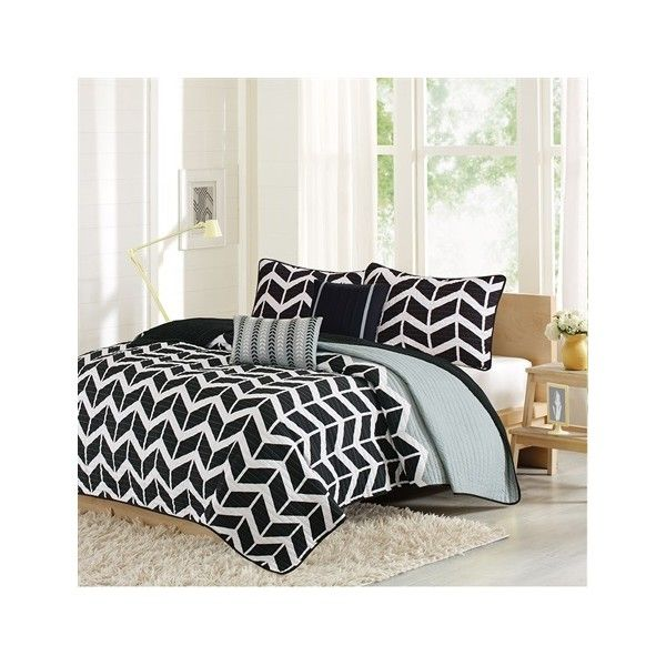Intelligent Design Nadia Coverlet Set ($59) ❤ liked on Polyvore featuring home, bed & bath, bedding, quilts, black, black and white bedding, black chevron bedding, twin extra long bedding, black white bedding and chevron bedding