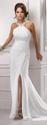 Marfil Vestido de gasa con cuentas Reunidos baja de la espalda vestido de novia de Alexa