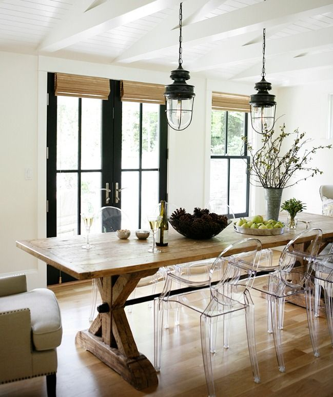 Dining Room With Farm Table And Ghost Chairs By H2 Design+Build
