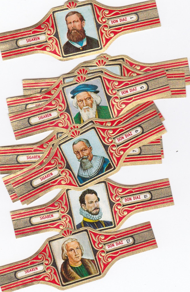 I found this on www.urbitrend-collectables.com famous explorers cigar band set