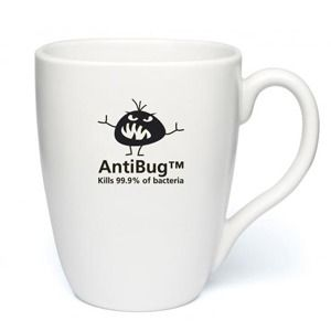 The Quadra Anti Bug Earthenware Mugs have been treated with a fully certified AntiBug treatment to keep germs at bay. The specialist surface starts to fight germs as soon as they come into contact and has been clinically proven to kill 99.9% of harmful bacteria from 50 common organisms such as MRSA, E.coli and salmonella and will continue to fight for the lifetime of the product. The branding area on these promotional anti bug mugs is 40mm diameter, and they have a capacity of 313ml / 11oz.