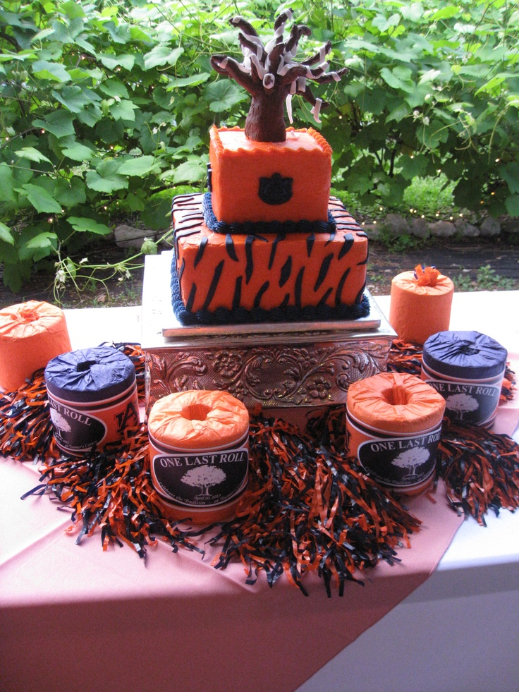 Great Auburn cake complete with toilet paper tree - Creekside wedding